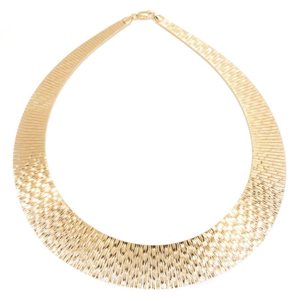 140-126 - Toscana Italiana 18K Gold Embraced™ Diamond Cut Graduated Omega Necklace