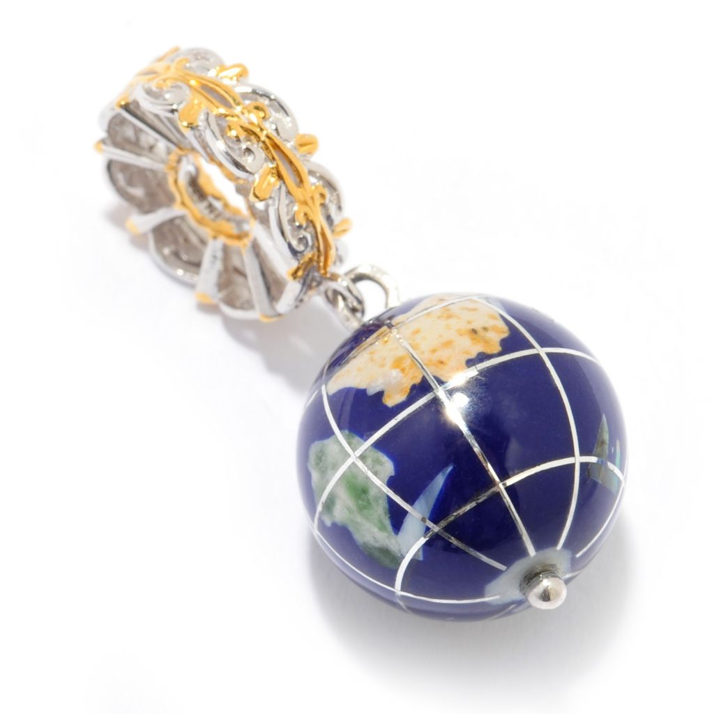 140-128 - Gems en Vogue 15mm Lapis Lazuli & Multi Gem Inlay Globe Drop Charm