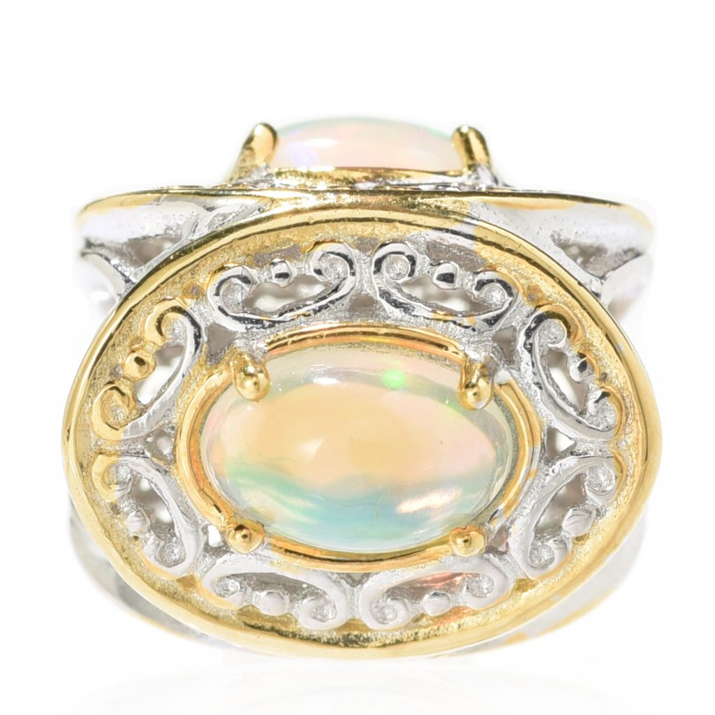 140-130 - Gems en Vogue Ethiopian Opal Three-Stone Slide-on Charm