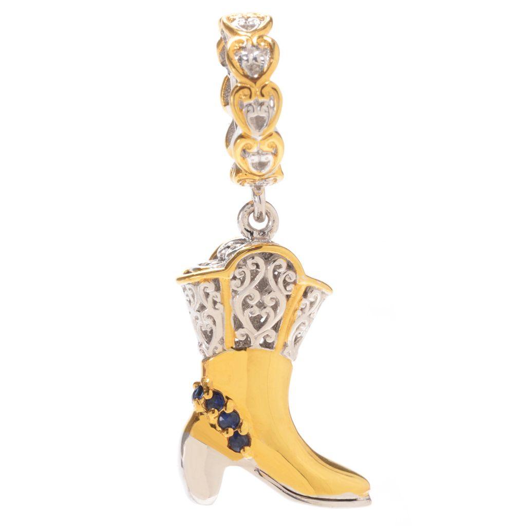 140-136 - Gems en Vogue Round Gemstone Cowgirl Boot Drop Charm