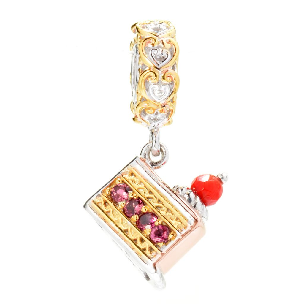 140-139 - Gems en Vogue Pink Tourmaline & Red Jade Cake Slice Drop Charm