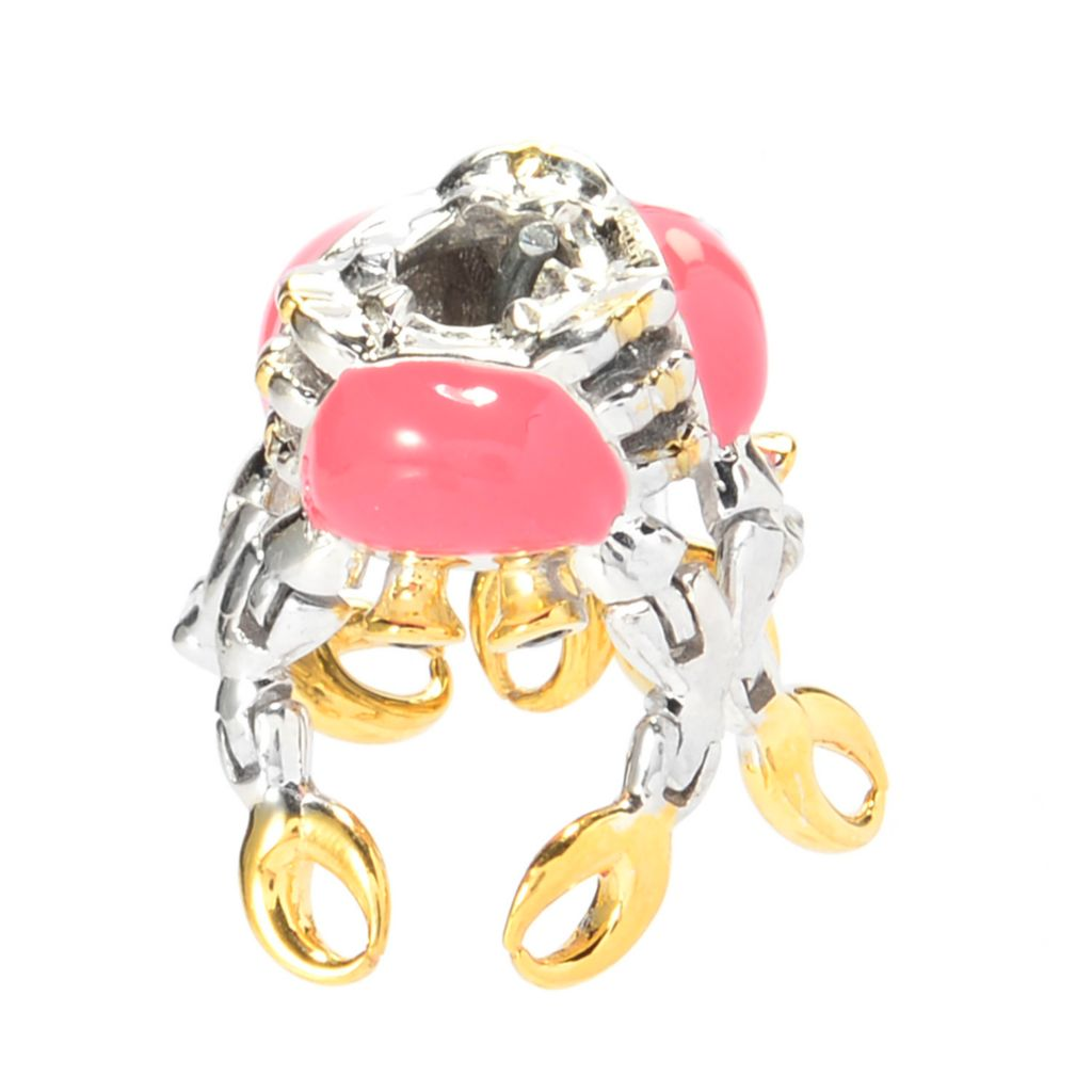 140-140 - Gems en Vogue Black Spinel & Enamel Snapping Crab Slide-on Charm