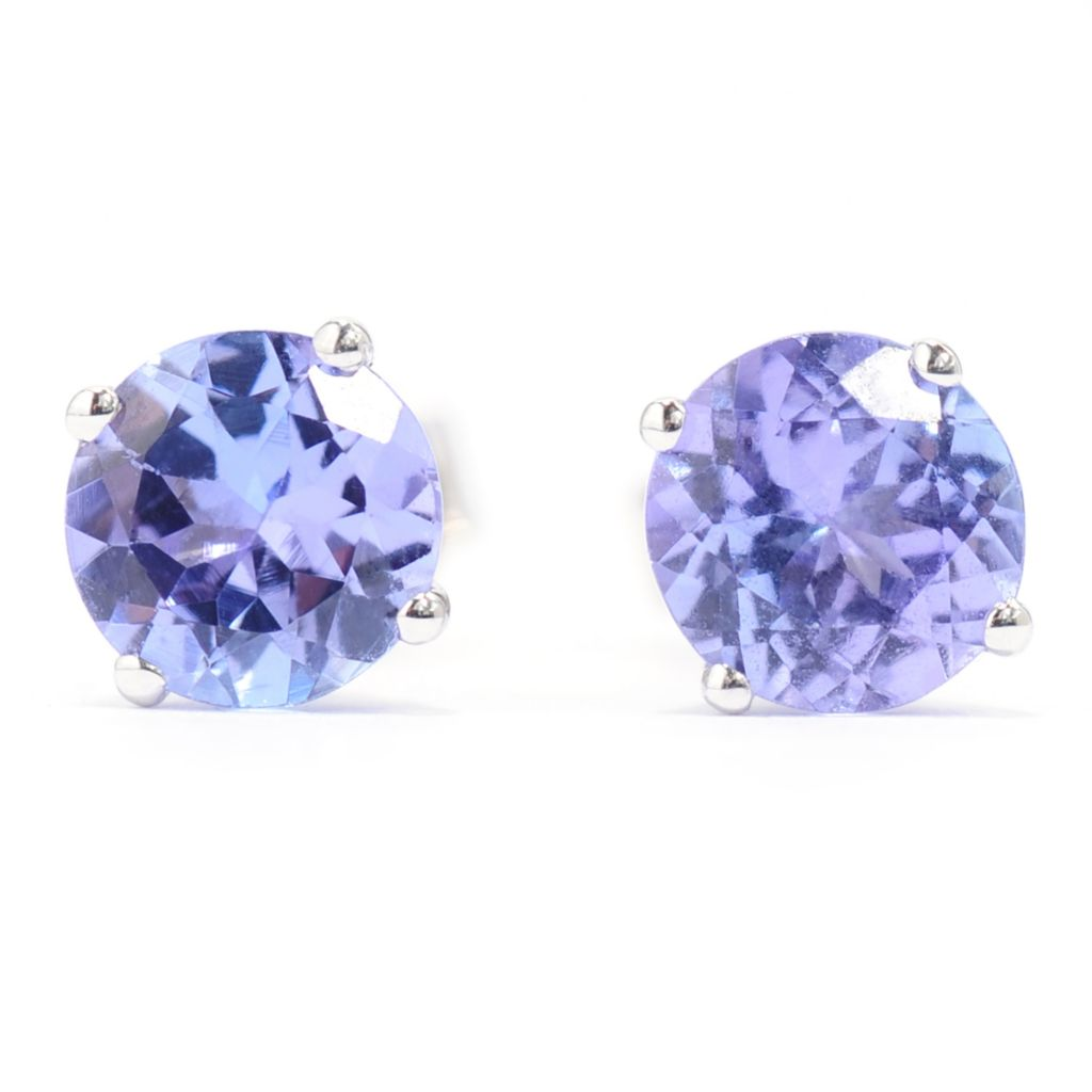 140-141 - Gem Treasures Sterling Silver 1.30ctw Round Tanzanite Stud Earrings