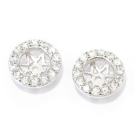140-142 - Gem Treasures Sterling Silver White Zircon Earring Jackets