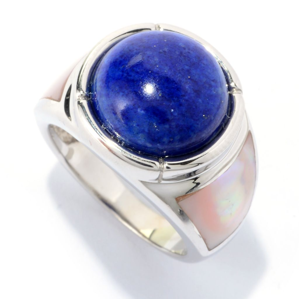140-143 - JOYA by Judy Crowell Sterling Silver 12mm Round Gemstone Band Ring