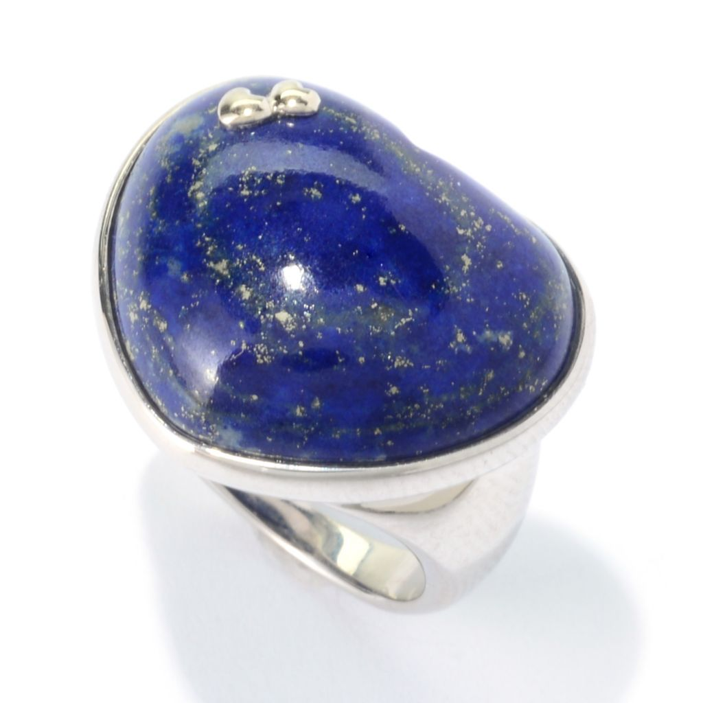 140-145 - JOYA by Judy Crowell Sterling Silver 22 x 18mm Gemstone Heart Ring