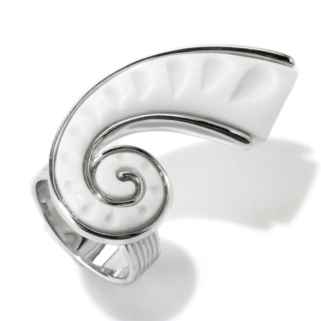 140-146 - JOYA by Judy Crowell Sterling Silver 36 x 18mm White Agate Shell Shaped Ring