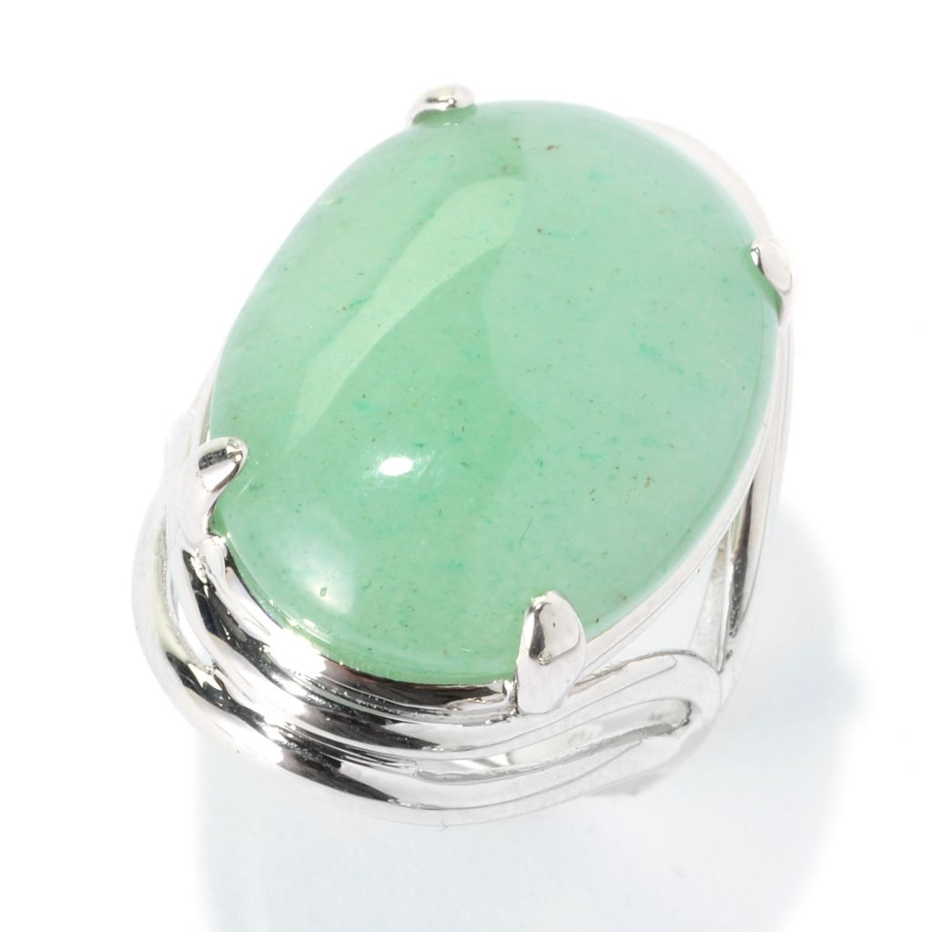 140-152 - JOYA by Judy Crowell Sterling Silver 23 x 17mm Oval Gemstone Split Shank Ring