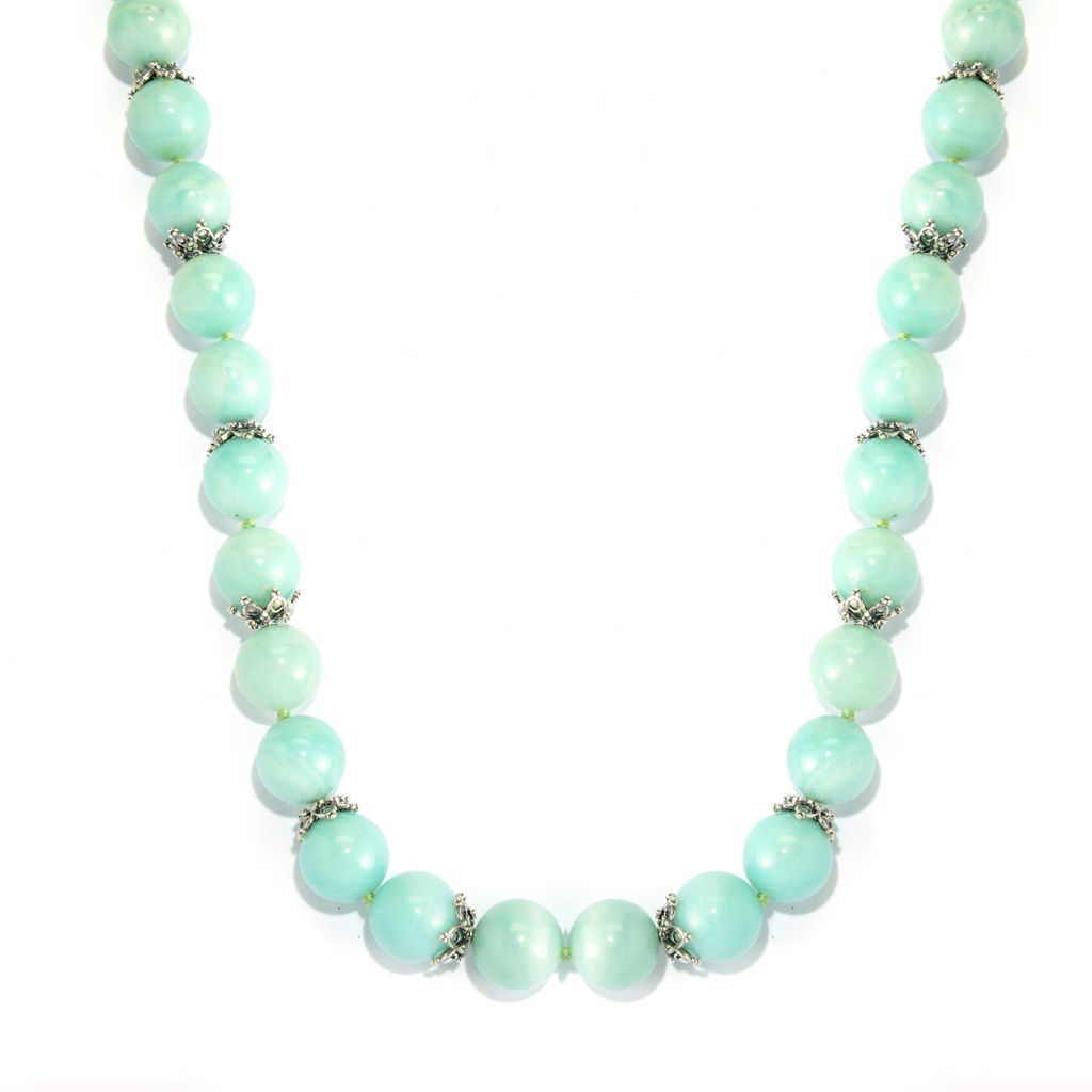 "140-156 - Dallas Prince Sterling Silver 24"" 14mm Amazonite Bead Toggle Necklace"