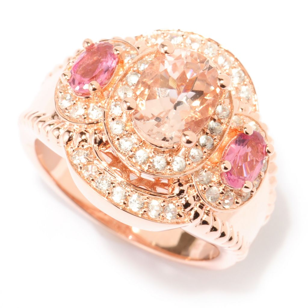 140-160 - Dallas Prince 2.40ctw Morganite, Pink Tourmaline & White Zircon Halo Ring