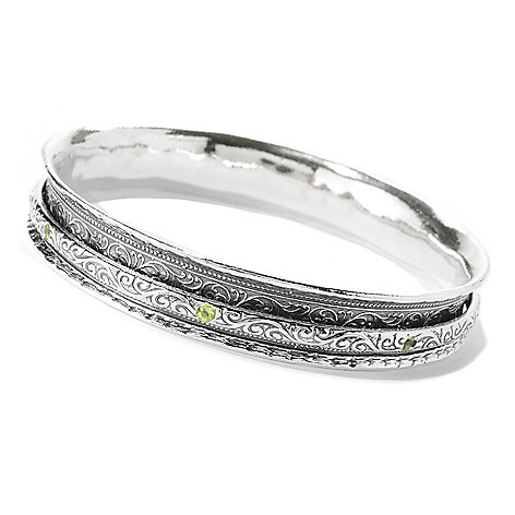 140-164 - Passage to Israel Sterling Silver 8'' Gemstone Spinner Slip-on Bangle Bracelet