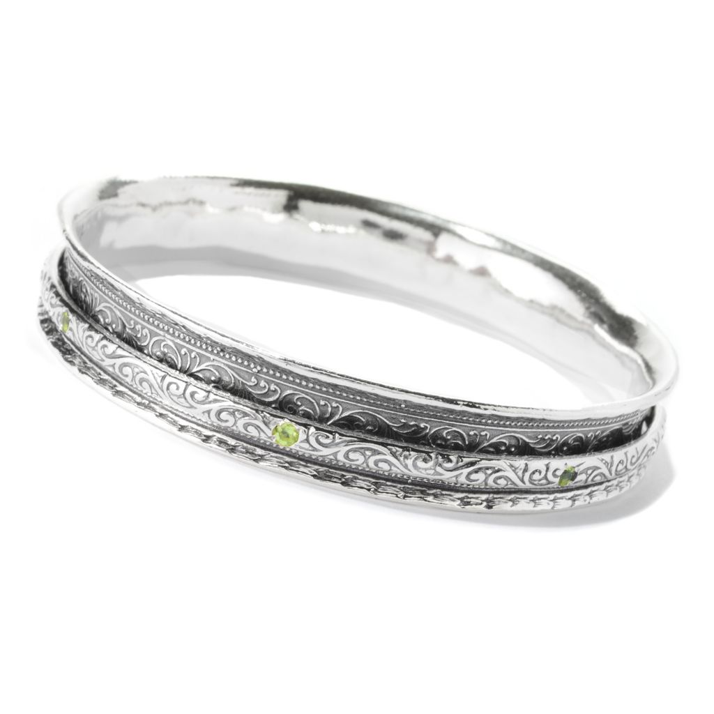 "140-164 - Passage to Israel Sterling Silver 8"" Gemstone Spinner Slip-on Bangle Bracelet"