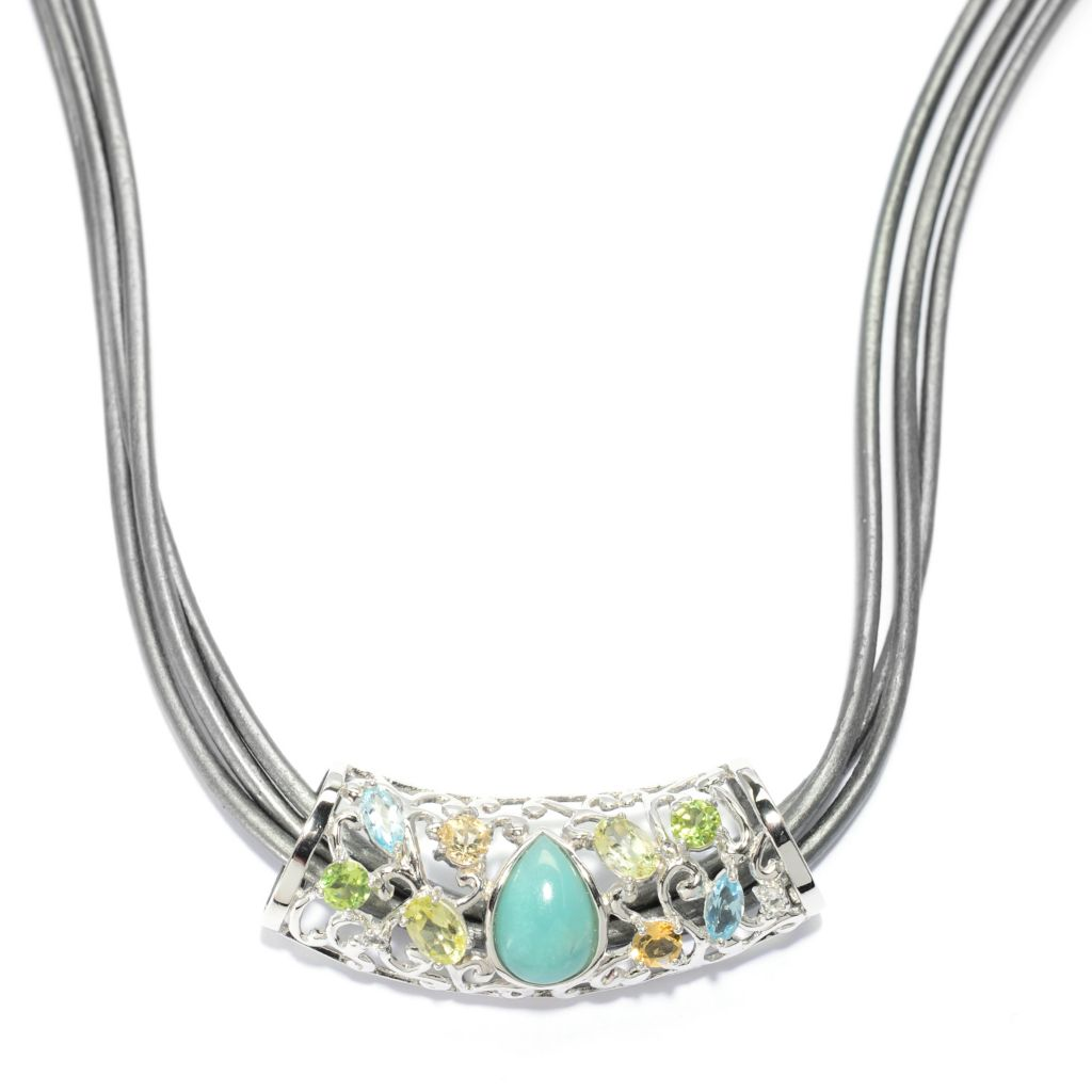 "140-167 - Gem Insider Sterling Silver 2.18ctw Multi Gem Pendant w/ 18"" Three-Strand Cord"
