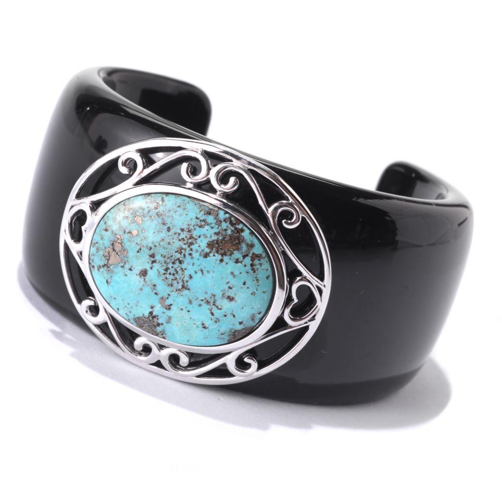 140-168 - Gem Insider Sterling Silver & Black Resin Turquoise Cuff Bracelet