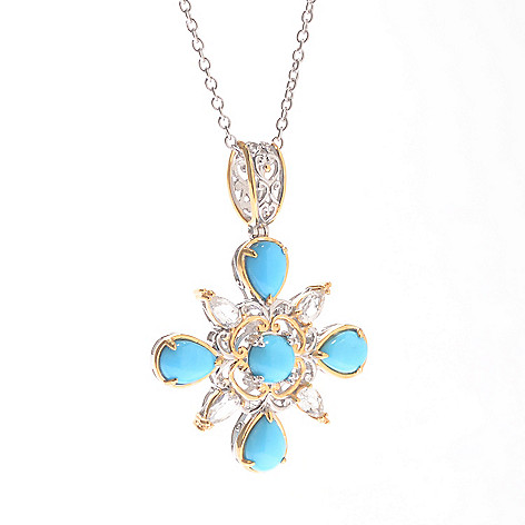 140-169 - Gems en Vogue Sleeping Beauty Turquoise & White Zircon Pendant w/ Chain