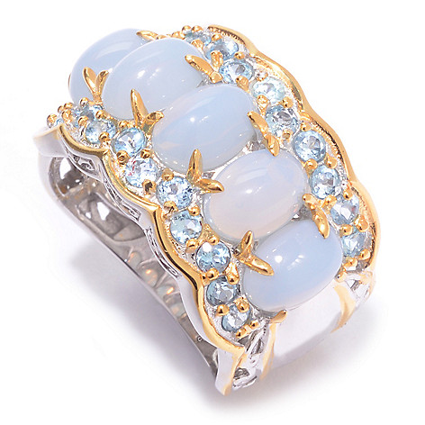 140-175 - Gems en Vogue Oregon Blue Opal & Swiss Blue Topaz Five-Stone Wide Band Ring