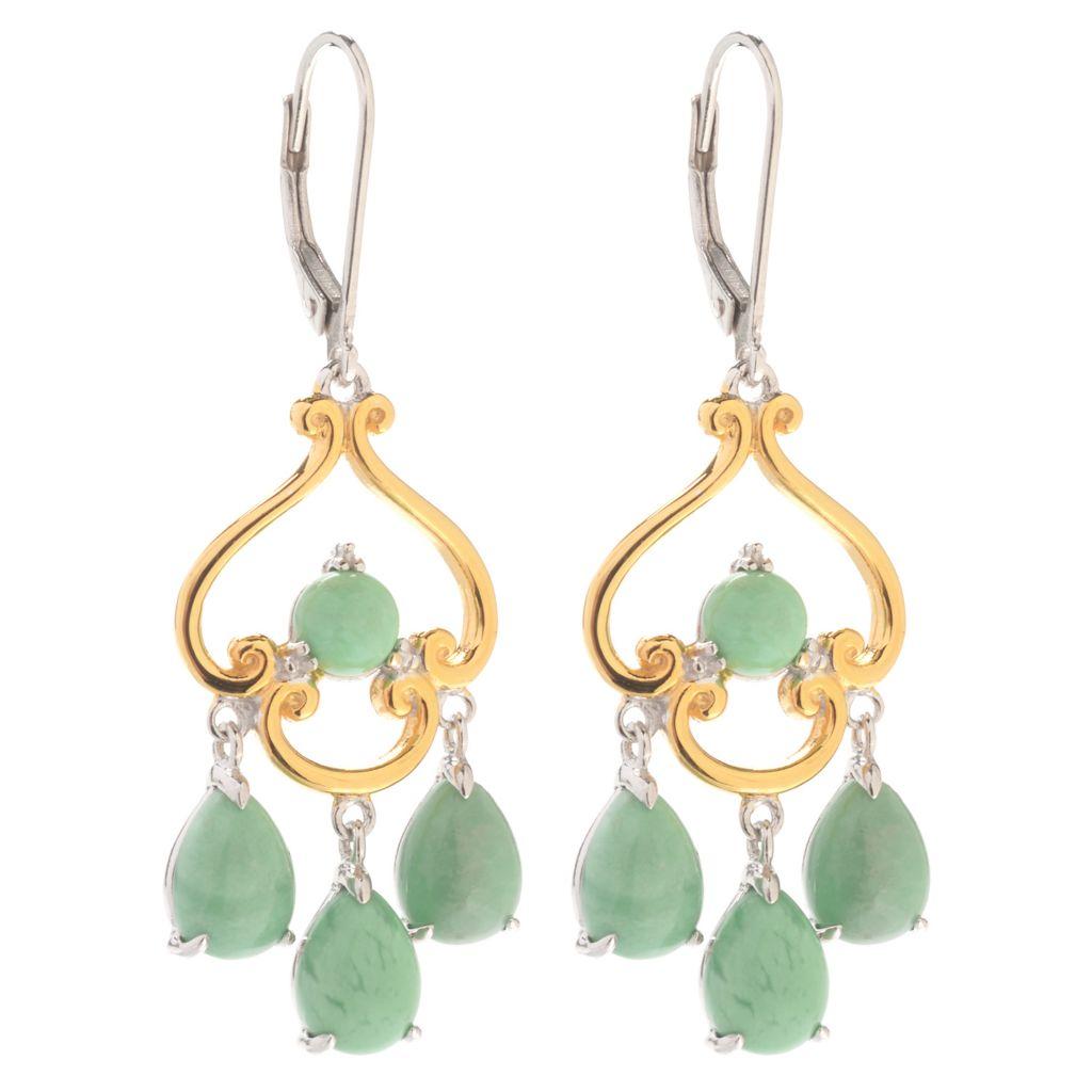 "140-176 - Gems en Vogue 1.75"" Round & Pear Shaped Utah Variscite Dangle Earrings"