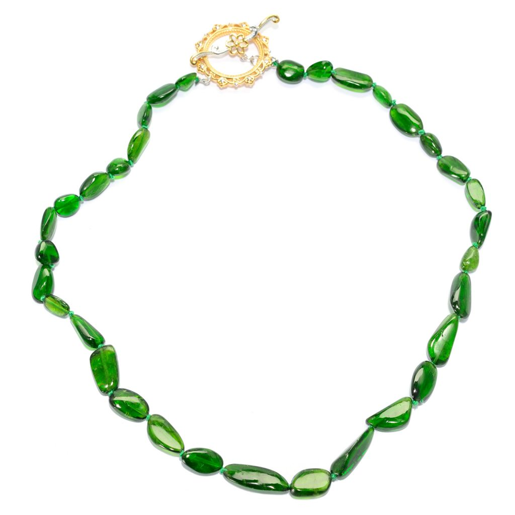 140-178 - Gems en Vogue Chrome Diopside Beaded Toggle Necklace