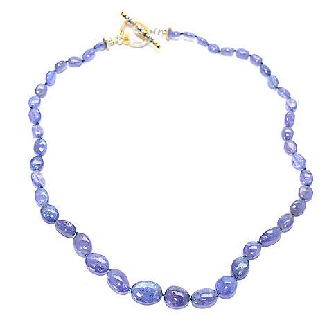 140-179 - Gems en Vogue Tanzanite Bead & Sapphire Toggle Necklace