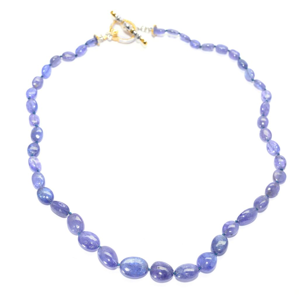140-179 - Gems en Vogue Tanzanite Bead & Sapphire Toggle Necklace