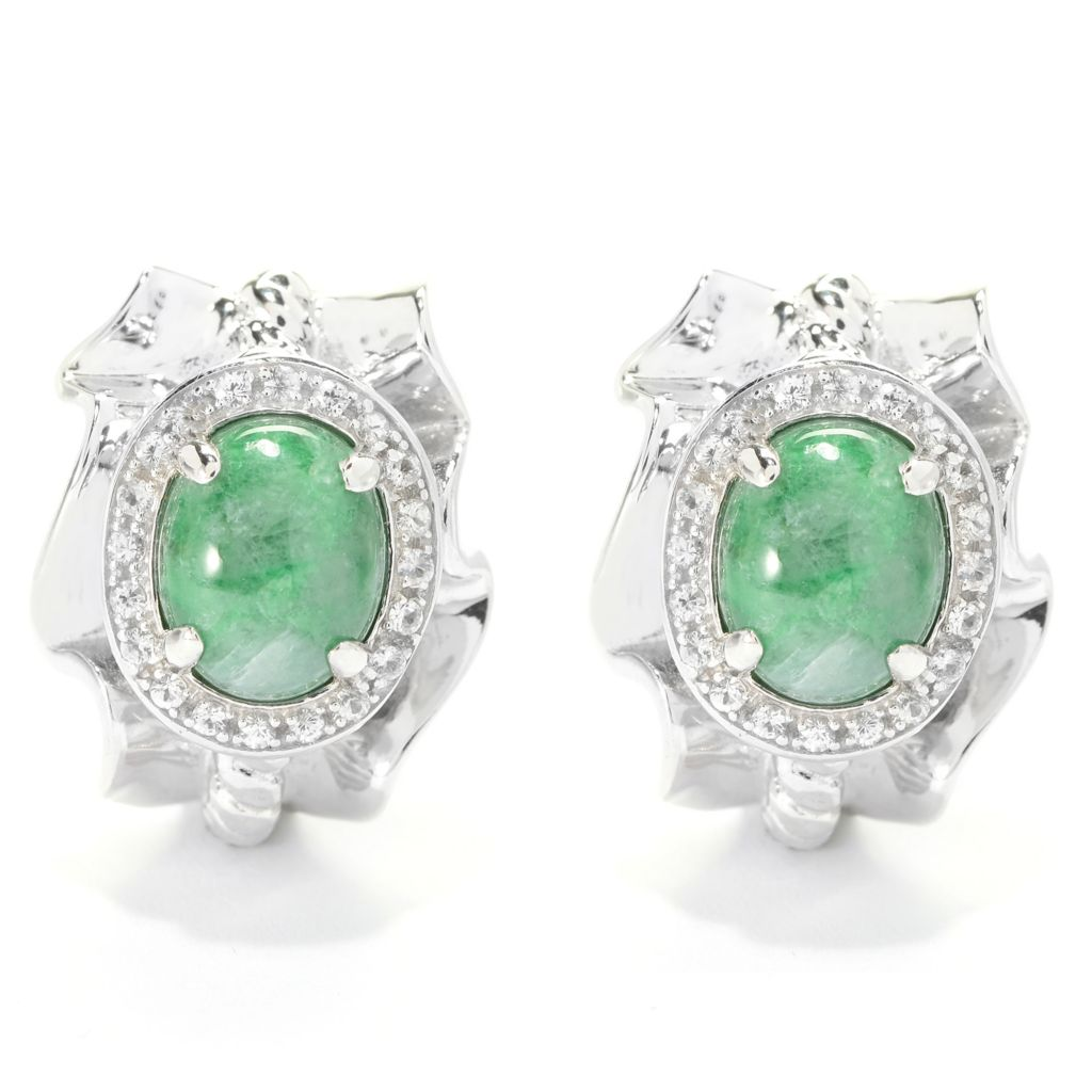 140-180 - Gem Insider Sterling Silver 10 x 8mm Russian Jadeite & White Sapphire Earrings