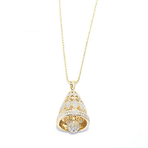 140-186 - Beverly Hills Elegance 14K Gold 1.25ctw Diamond Marquise Cut-out Bell Pendant