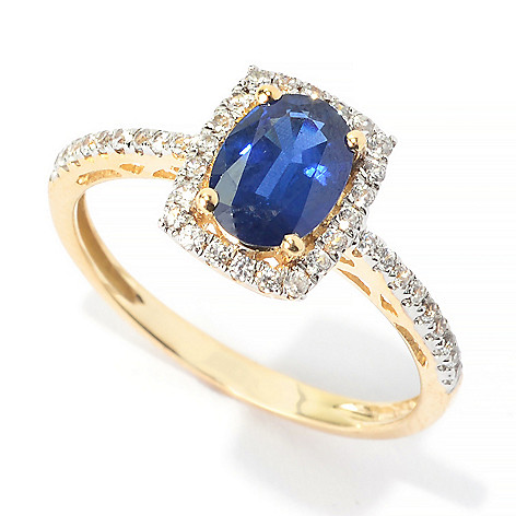 140-187 - Gem Treasures 14K Gold 1.22ctw Oval Sapphire & White Topaz Halo Ring