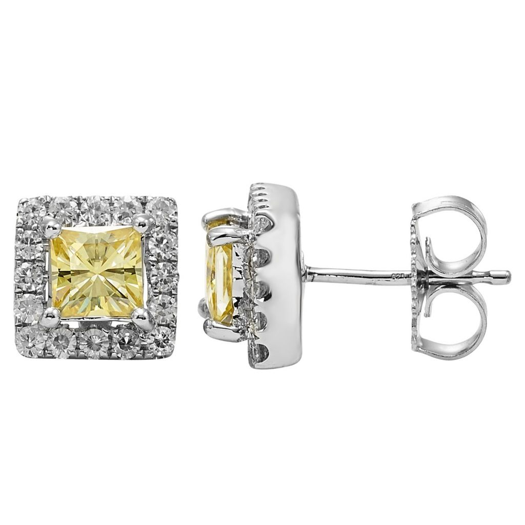 140-188 - Charles & Colvard Colored Moissanite Square Cut Halo Stud Earrings