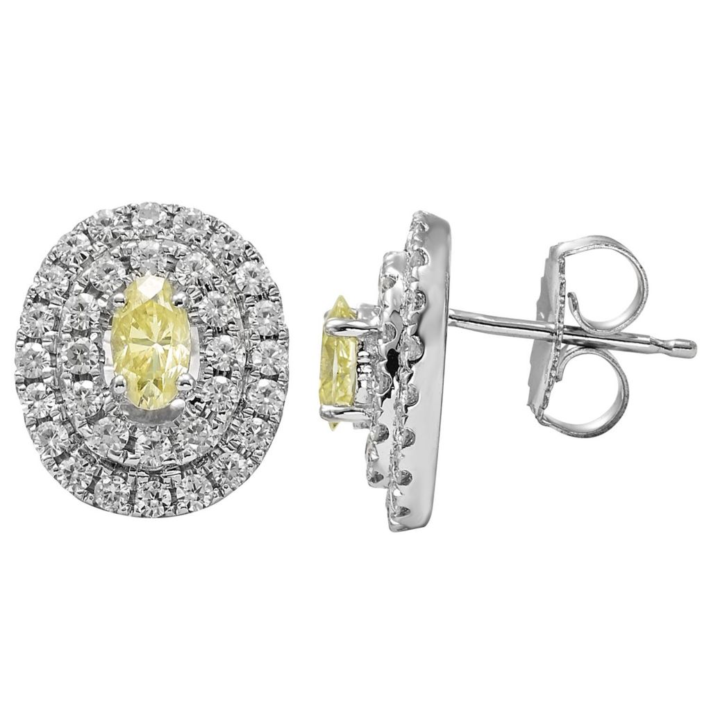 140-196 - Charles & Colvard Platinum Embraced™ Color Treated Moissanite Double Halo Stud Earrings
