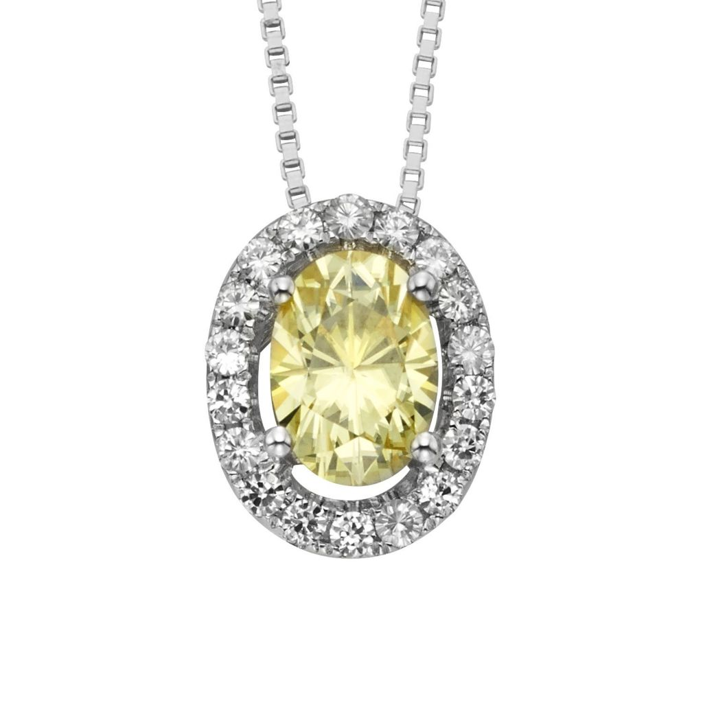 "140-198 - Charles & Colvard Colored Moissanite Oval Halo Pendant w/ 18"" Chain"
