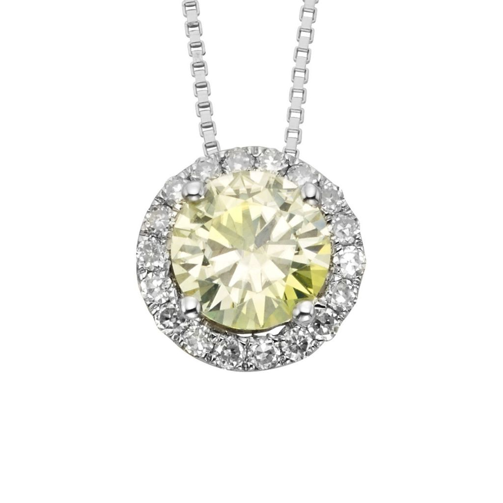 "140-200 - Charles & Colvard Platinum Embraced™ Color Treated Moissanite Round Cut Halo Pendant w/ 18"" Ch"