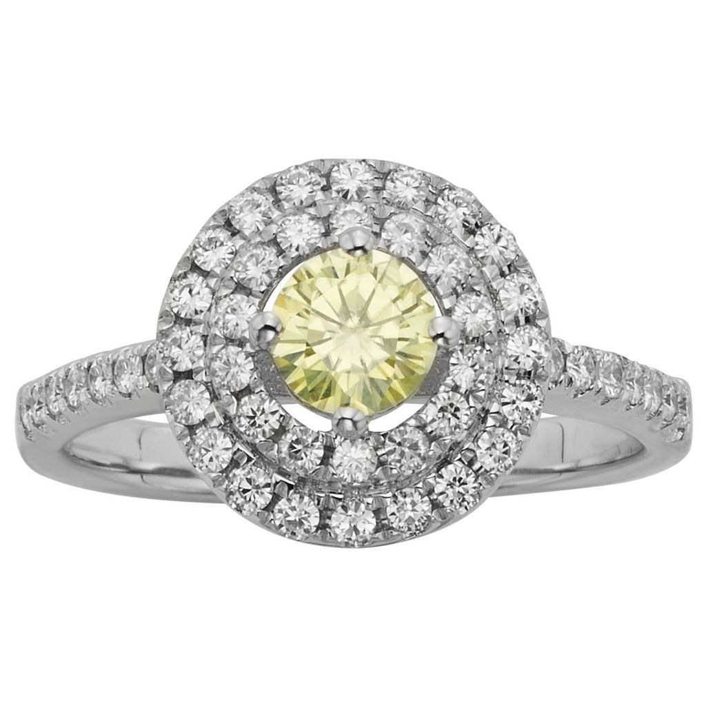 140-202 - Charles & Colvard Colored Moissanite 0.98 DEW Round Double Halo Ring