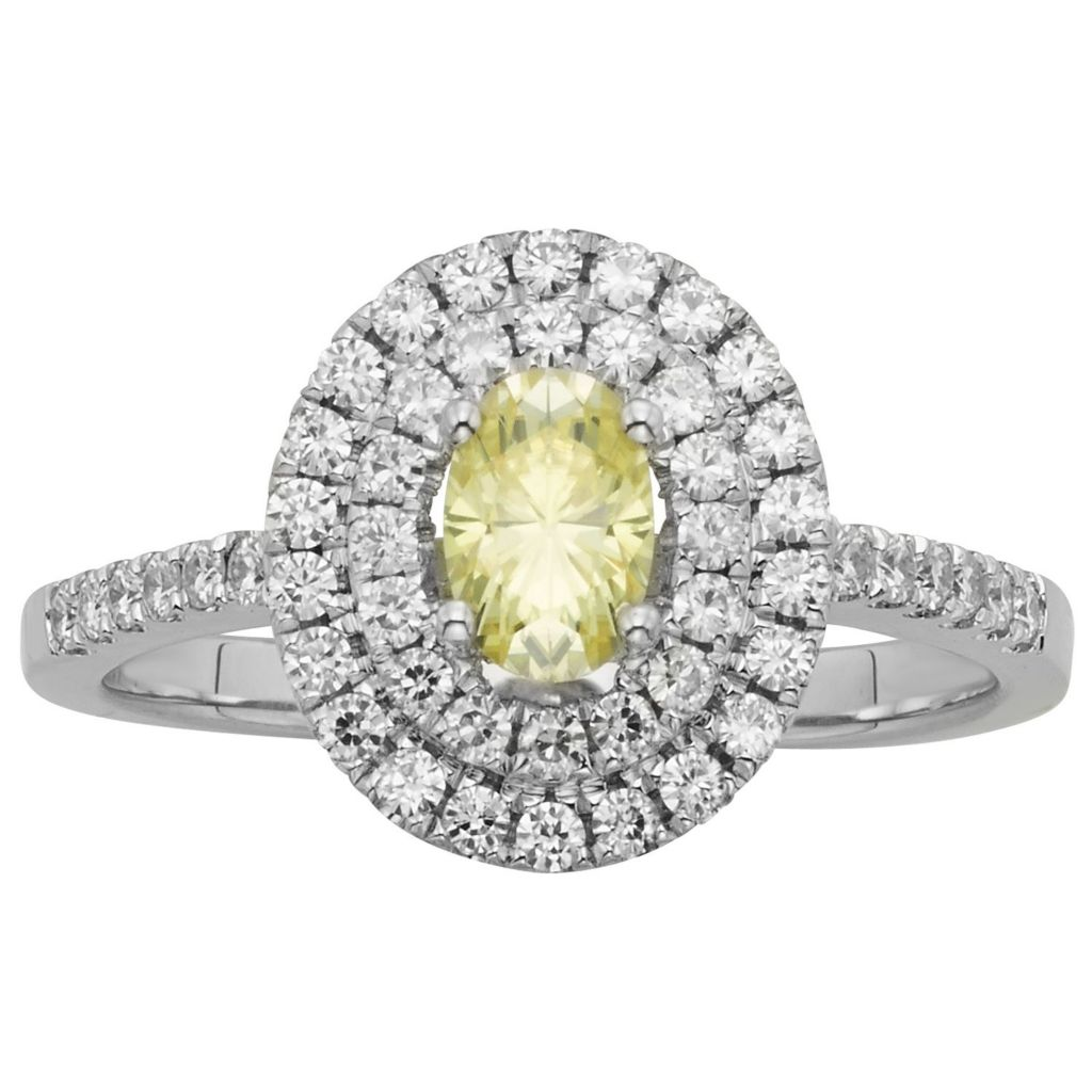 140-205 - Charles & Colvard Colored Moissanite 0.82 DEW Oval Halo Ring