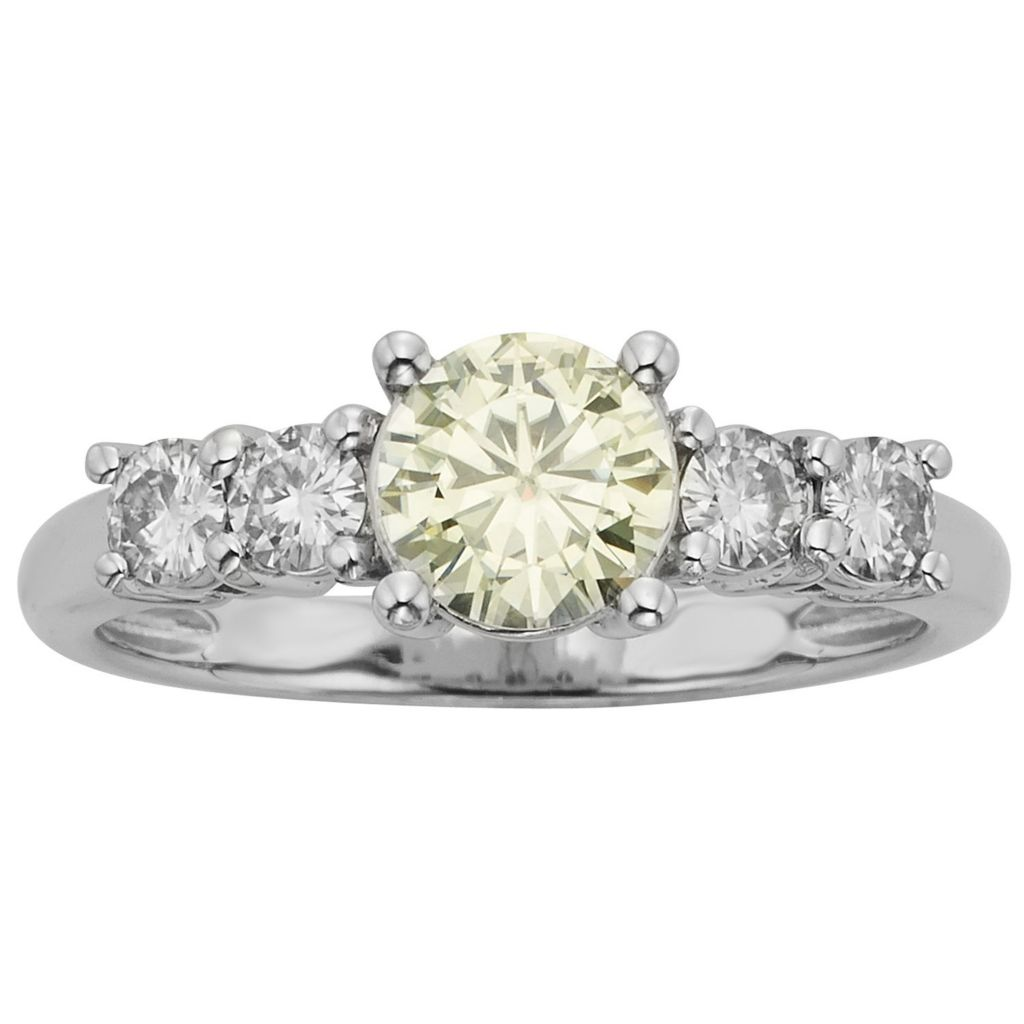 140-209 - Charles & Colvard Platinum Embraced™ Color Treated Moissanite Five-Stone Ring
