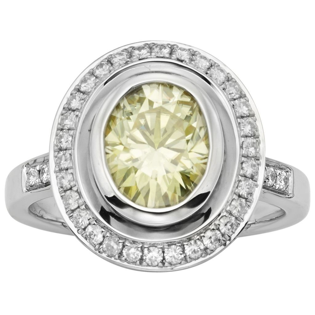 140-213 - Charles & Colvard Colored Moissanite 3.23 DEW Oval Halo Ring