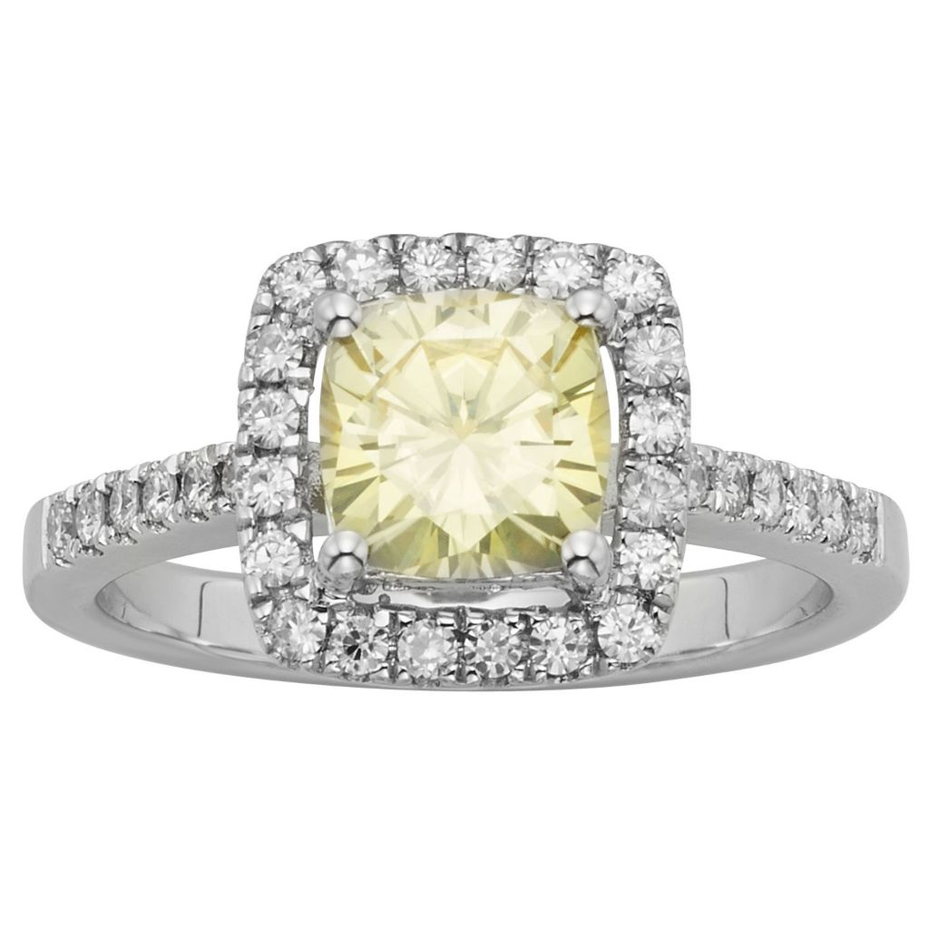 140-216 - Charles & Colvard Colored Moissanite Cushion Cut Halo Ring - Size 6