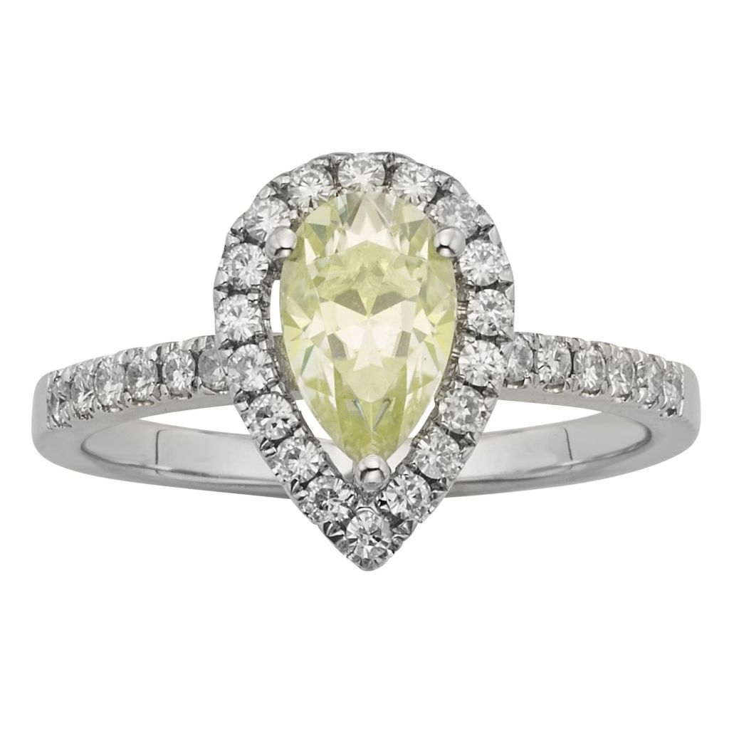 140-217 - Charles & Colvard Platinum Embraced™ Color Treated Moissanite Pear Cut Halo Ring - Size 6