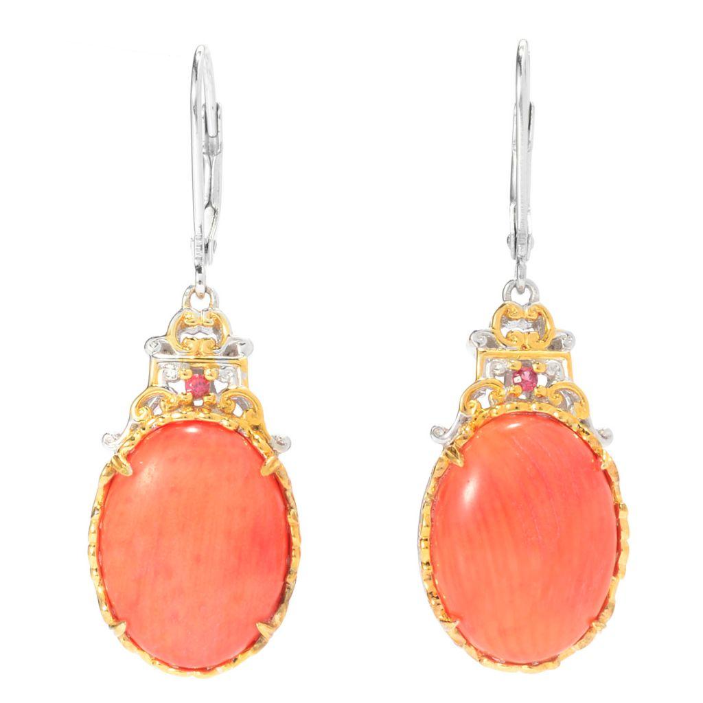 "140-221 - Gems en Vogue 1.5"" 16 x 12mm Oval Bamboo Coral & Orange Sapphire Drop Earrings"