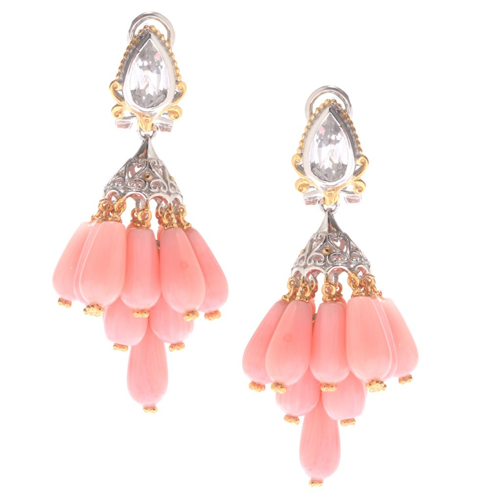 "140-225 - Gems en Vogue 1.75"" Bamboo Coral & White Topaz Dangle Earrings w/ Omega Backs"