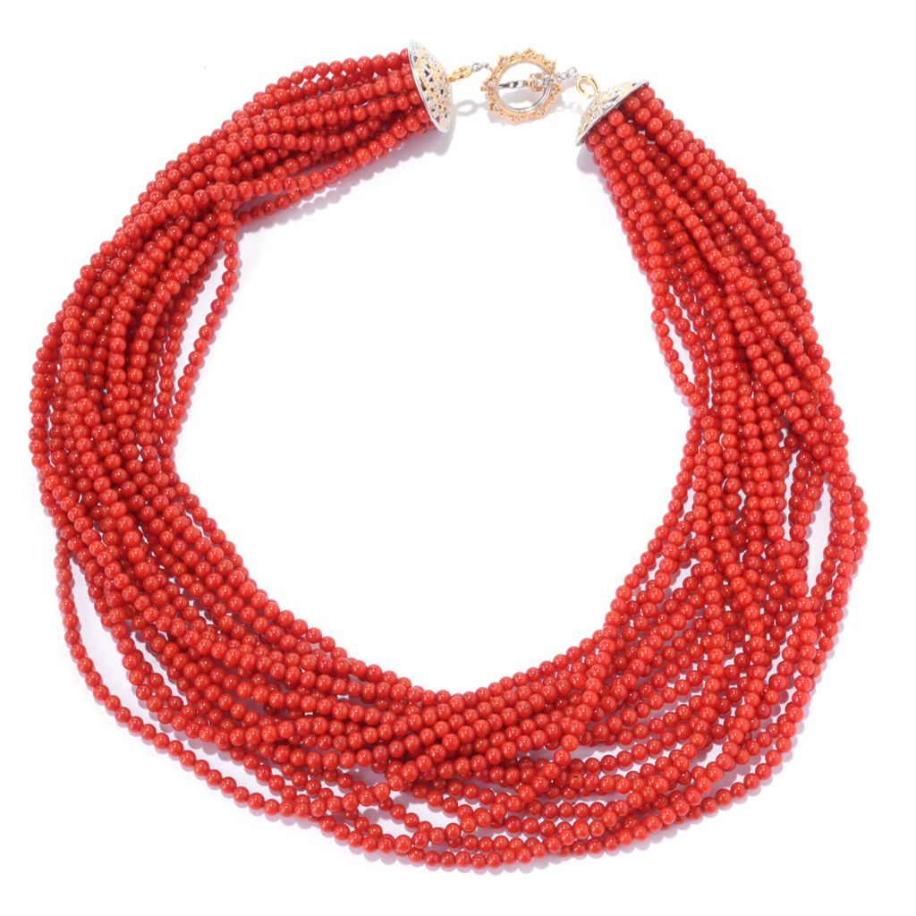 140-226 - Gems en Vogue Bamboo Coral & Gemstone Multi Strand Toggle Necklace