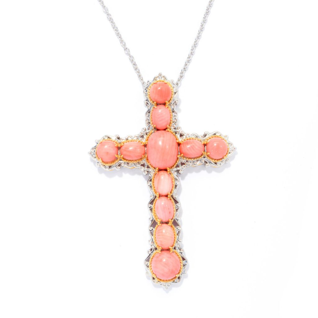 "140-229 - Gems en Vogue Oval & Round Bamboo Coral Cross Pendant w/ 18"" Chain"