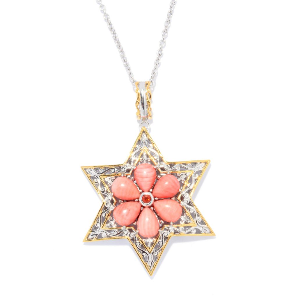 140-230 - Gems en Vogue Bamboo Coral & Fire Opal Star of David Pendant w/ Chain
