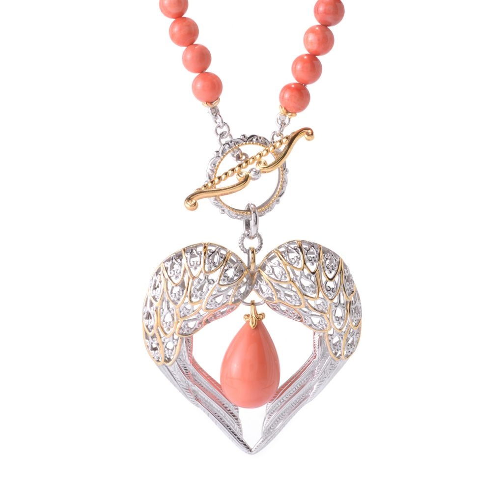 140-233 - Gems en Vogue 18 x 13mm Bamboo Coral Beaded Heart Necklace