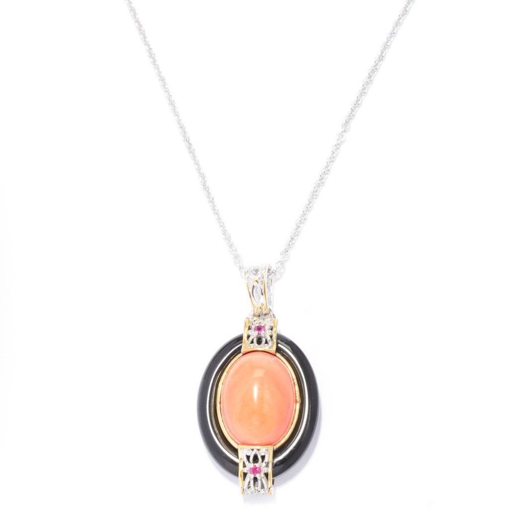140-234 - Gems en Vogue 16 x 12mm Oval Bamboo Coral & Multi Gemstone Pendant w/ Chain