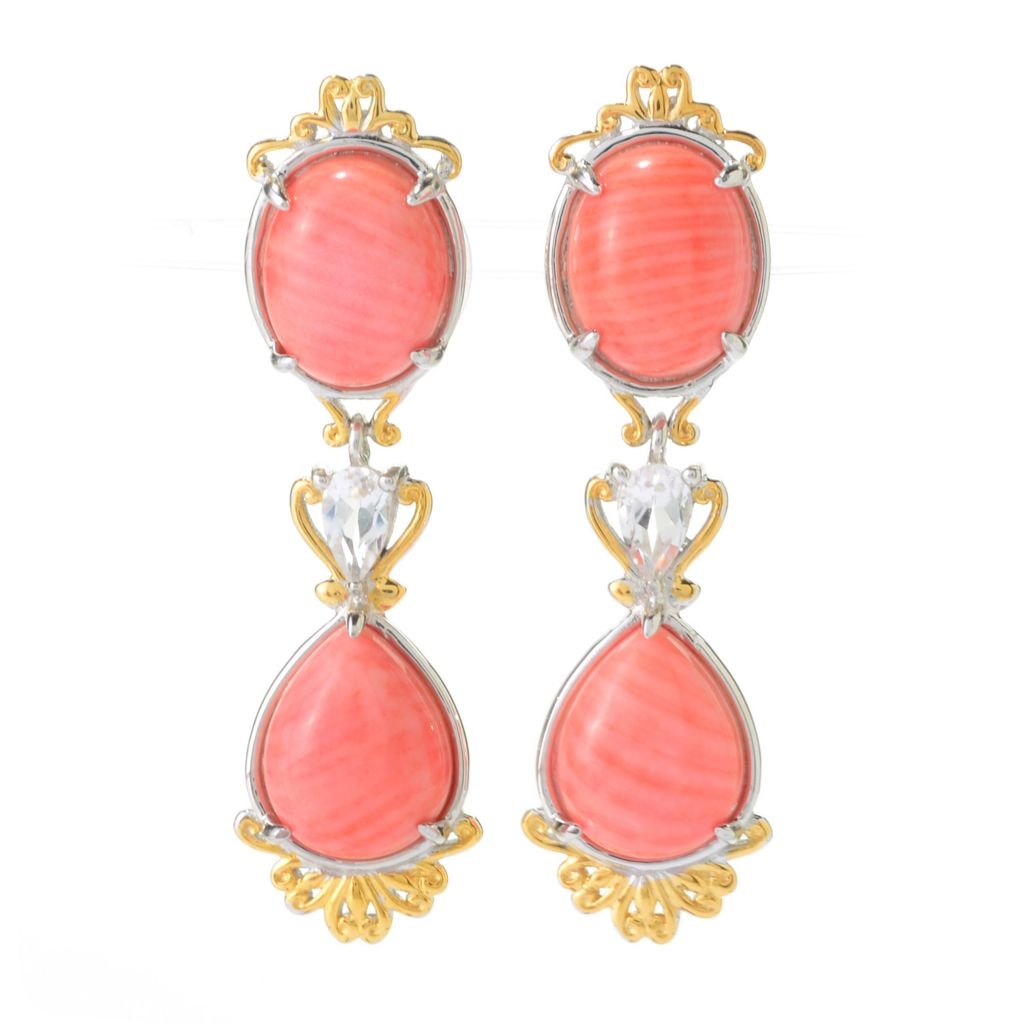 "140-235 - Gems en Vogue 1.5"" 10 x 8mm Bamboo Coral & White Topaz Drop Earrings"