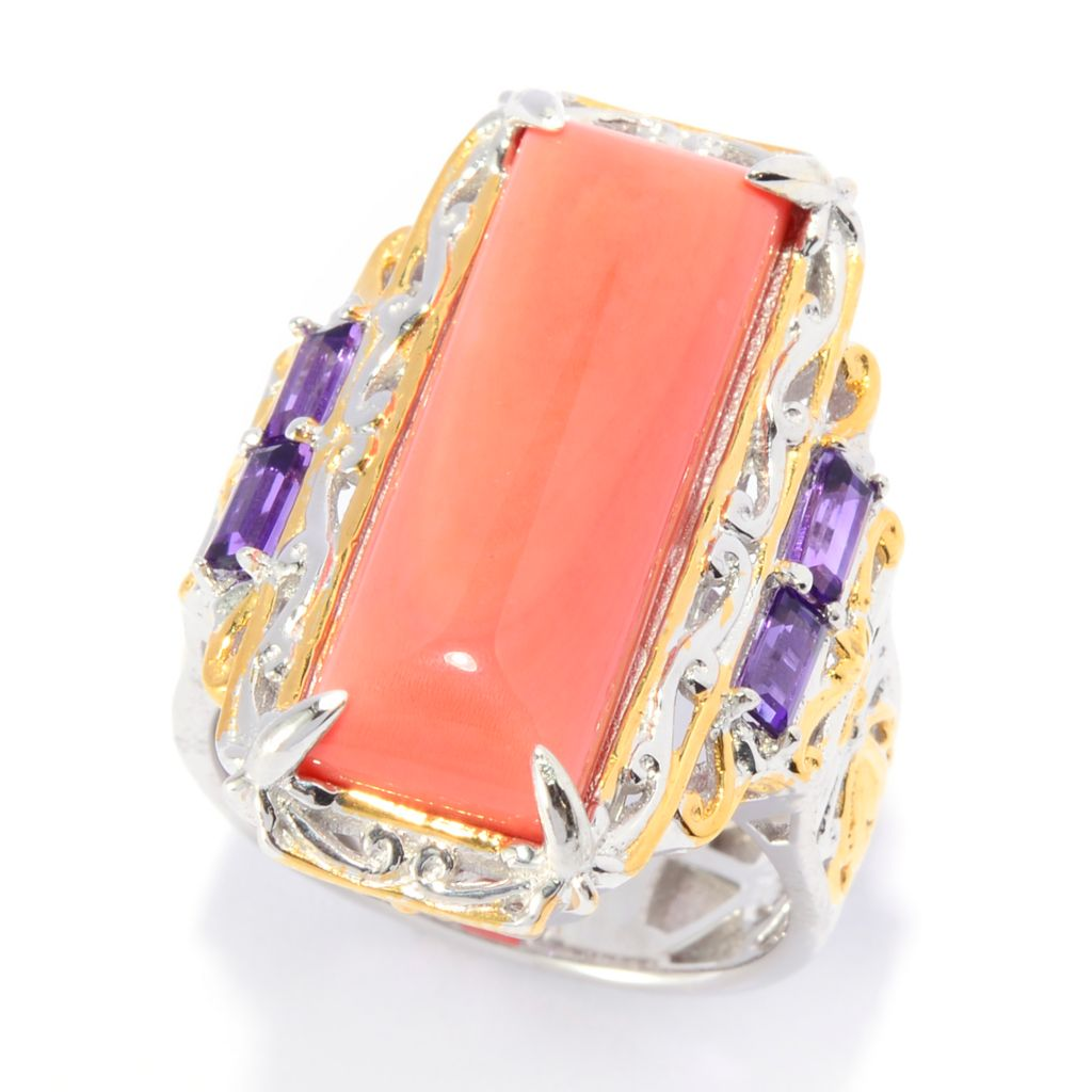 140-236 - Gems en Vogue 22 x 8mm Bamboo Coral & Gemstone Elongated Ring