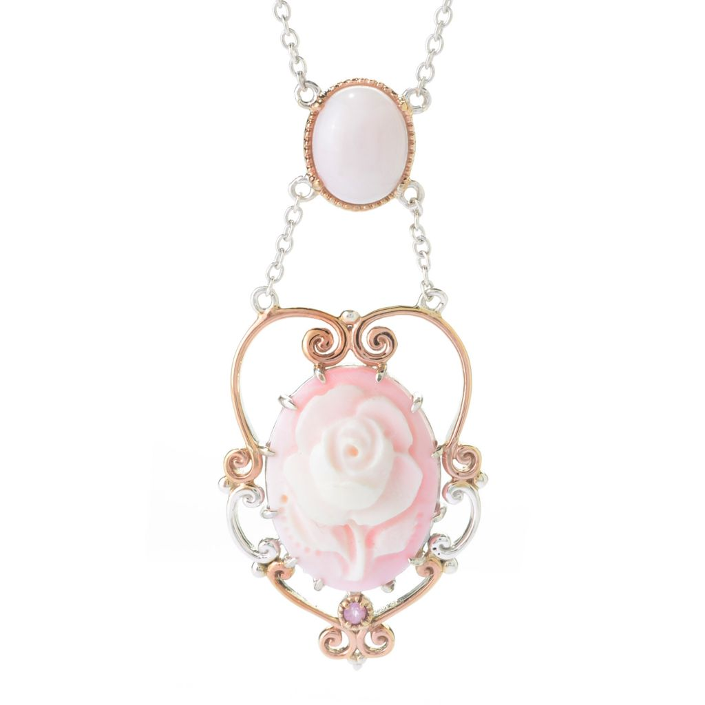 140-237 - Gems en Vogue 20 x 15mm Carved Pink Conch Shell Rose Cameo & Multi Gem Necklace