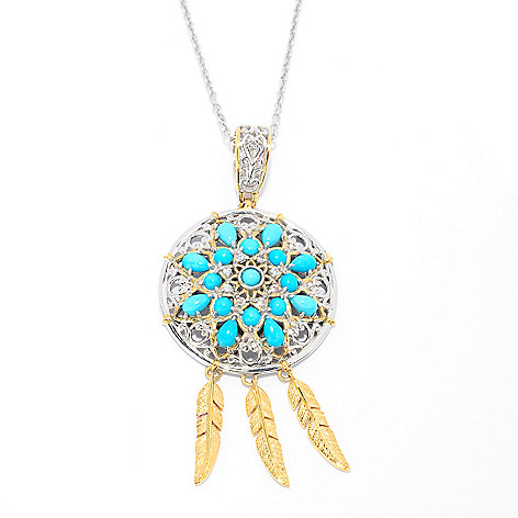 140-238 - Gems en Vogue Sleeping Beauty Turquoise & White Zircon Dream Catcher Pendant