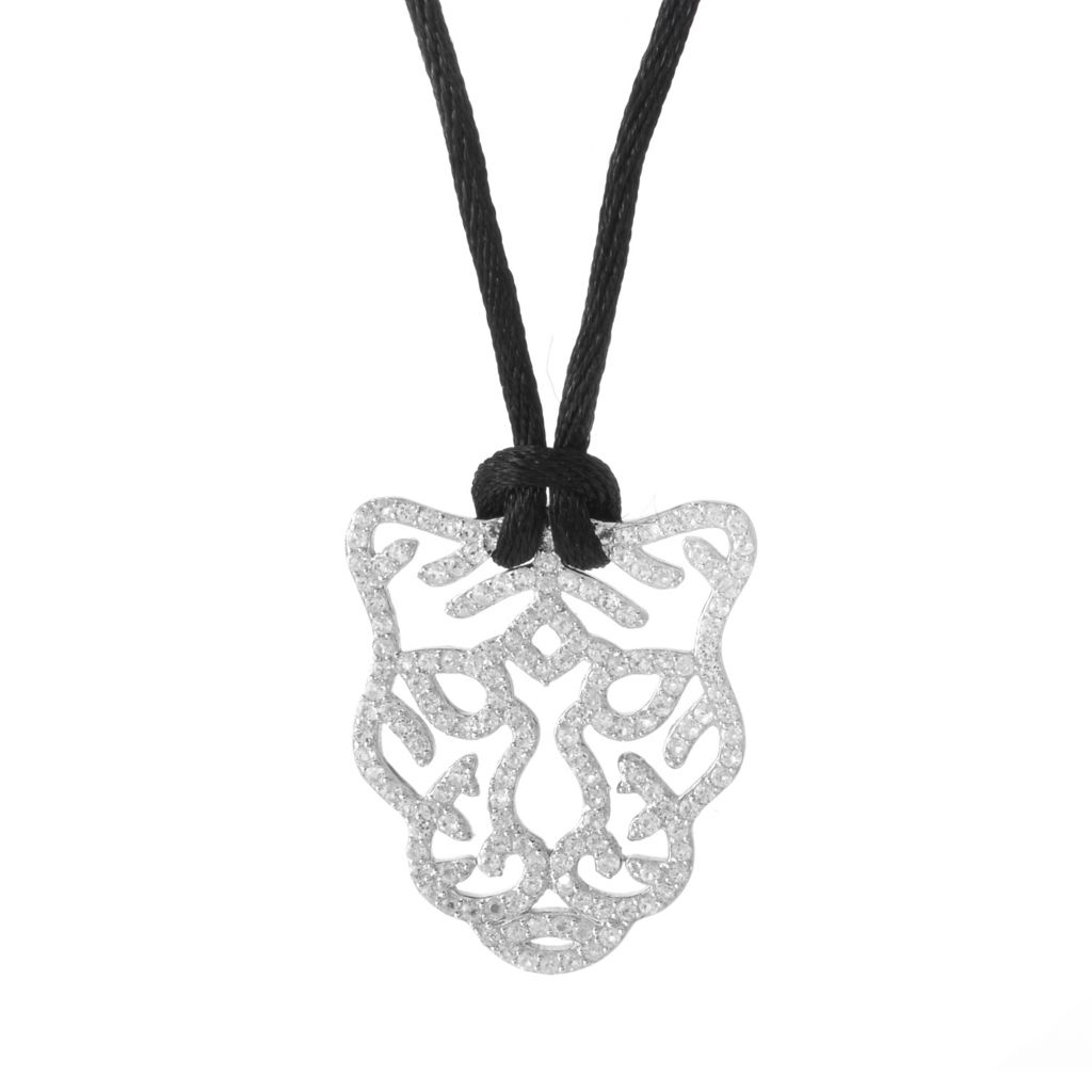 "140-241 - Gem Treasures Sterling Silver Gemstone Lion Pendant w/ 18"" Cord"