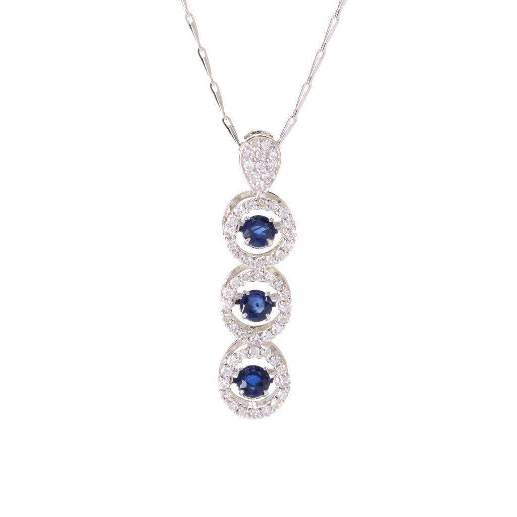 140-242 - Beverly Hills Elegance 14K White Gold 1.03ctw Diamond & Sapphire Heartbeat Pendant